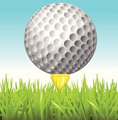 Golfball on tee close up