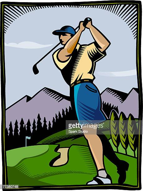 a golfer at a golf course - sand trap stock illustrations, clip art, cartoons, & icons