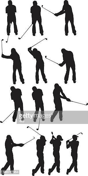 golfer demonstrating the golf swing - golf swing stock illustrations, clip art, cartoons, & icons