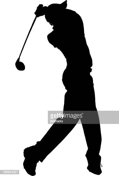 golfer silhouette - golf swing stock illustrations
