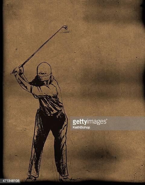 golfer swinging golf club - teeing off stock illustrations, clip art, cartoons, & icons