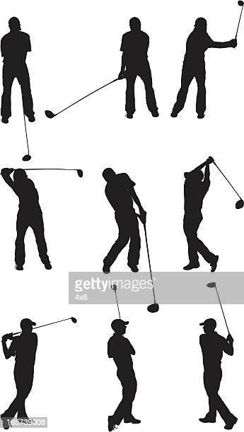 golfer swinging the driver - golf swing stock illustrations, clip art, cartoons, & icons
