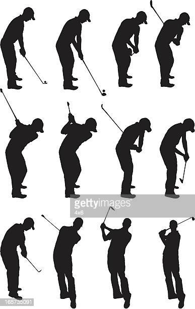 golfers in action - golf swing stock illustrations, clip art, cartoons, & icons