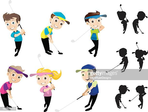 golfing kids - eagle golf stock illustrations