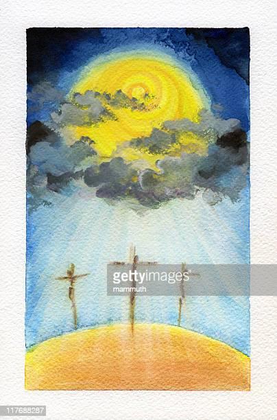 golgotha - the crucifixion stock illustrations, clip art, cartoons, & icons