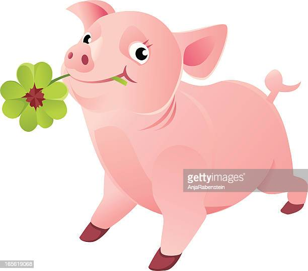 Good Luck Pig with a Four Leaf Clover