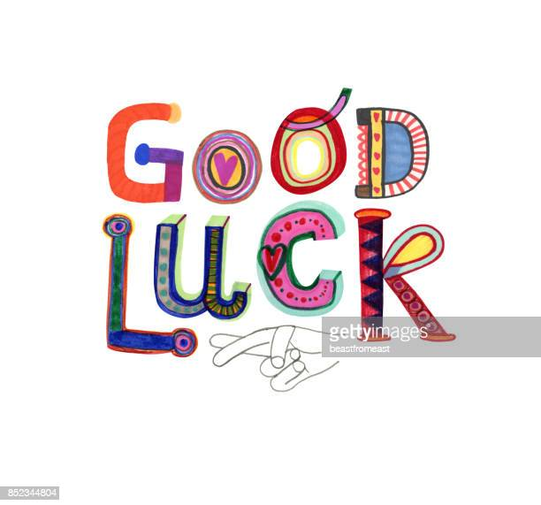 good luck text and fingers crossed - luck stock illustrations
