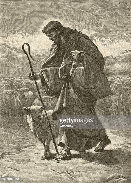 good shepherd - jesus christ stock illustrations, clip art, cartoons, & icons