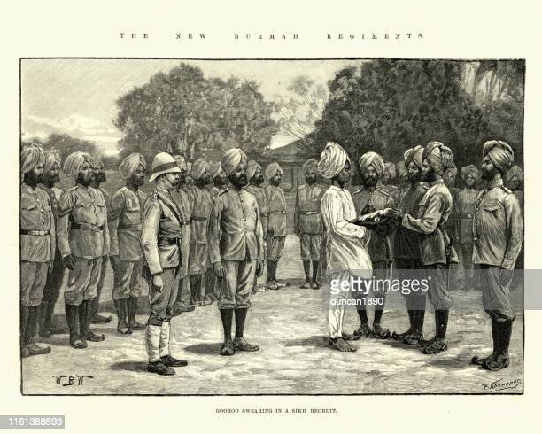 gooroo swearing a sikh recuit to british indian army, 1891 - british culture stock illustrations