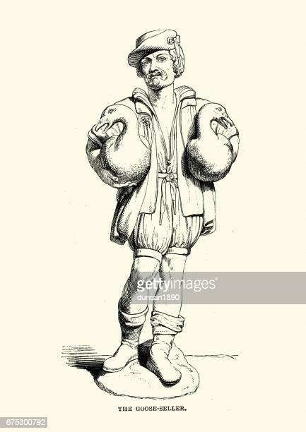 illustrations, cliparts, dessins animés et icônes de vendeur de nuremberg, l'oie du xvie siècle - marchand