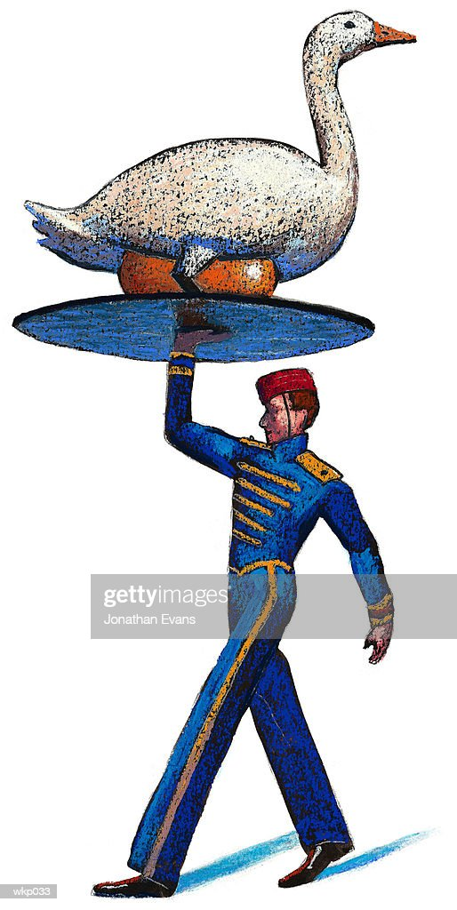 Goose with Golden Egg : Stock Illustration