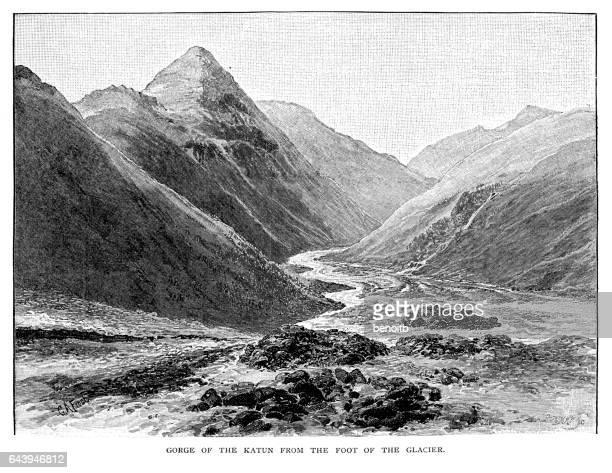 ilustraciones, imágenes clip art, dibujos animados e iconos de stock de gorge of the katun - valle
