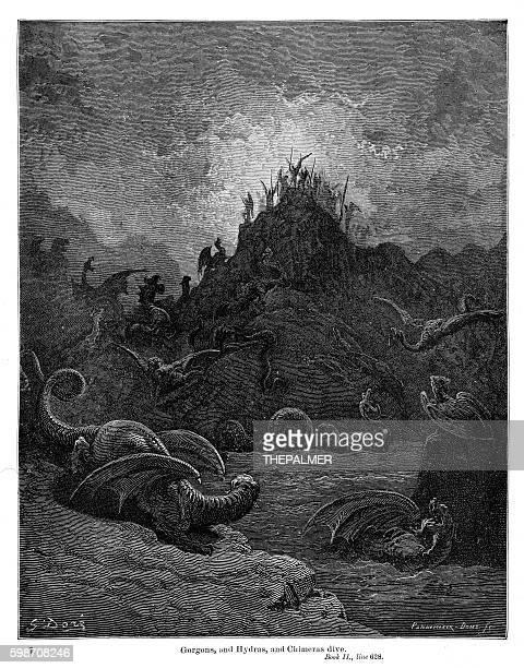 gorgons hydras chimeras 1885 - john milton stock illustrations, clip art, cartoons, & icons