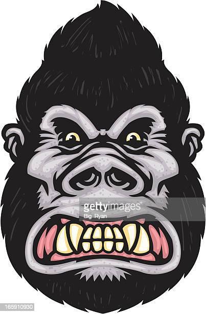 gorilla face - chimpanzee stock illustrations, clip art, cartoons, & icons