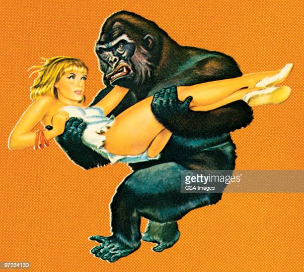 illustrations, cliparts, dessins animés et icônes de gorilla with woman - gorille