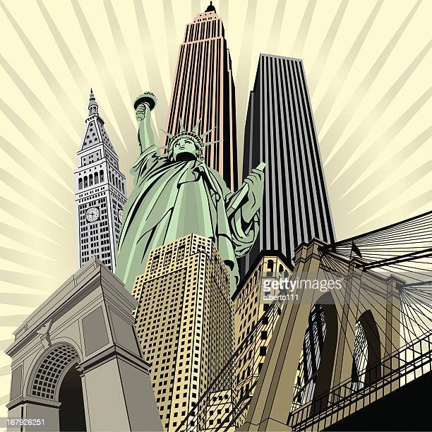 gothem deluxe - brooklyn bridge stock illustrations, clip art, cartoons, & icons