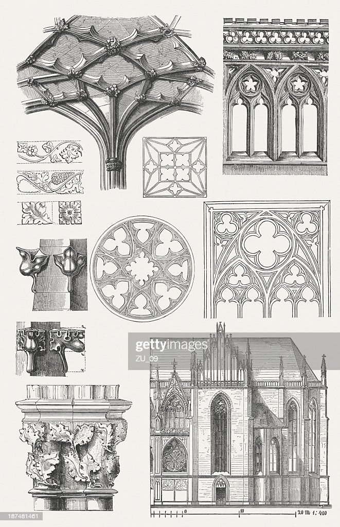 Gothic architecture elements, wood engravings, published in 1876. : stock illustration