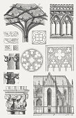 Gothic architecture elements, wood engravings, published in 1876.