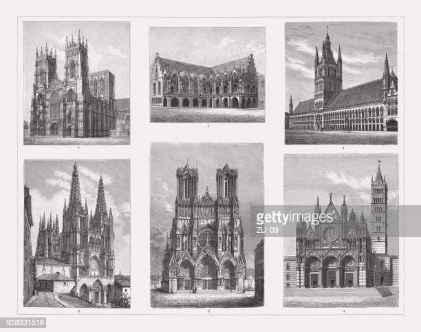 Gothic arcitecture (13th and 14th century), wood engravings, published 1897
