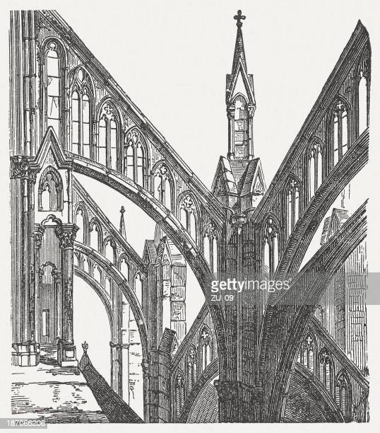 stockillustraties, clipart, cartoons en iconen met gothic elements, amiens cathedral, france, wood engraving, published in 1876 - kathedraal