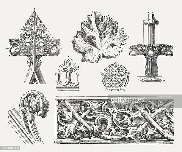 gothic ornaments, wood engravings, published in 1876 - relief carving stock illustrations