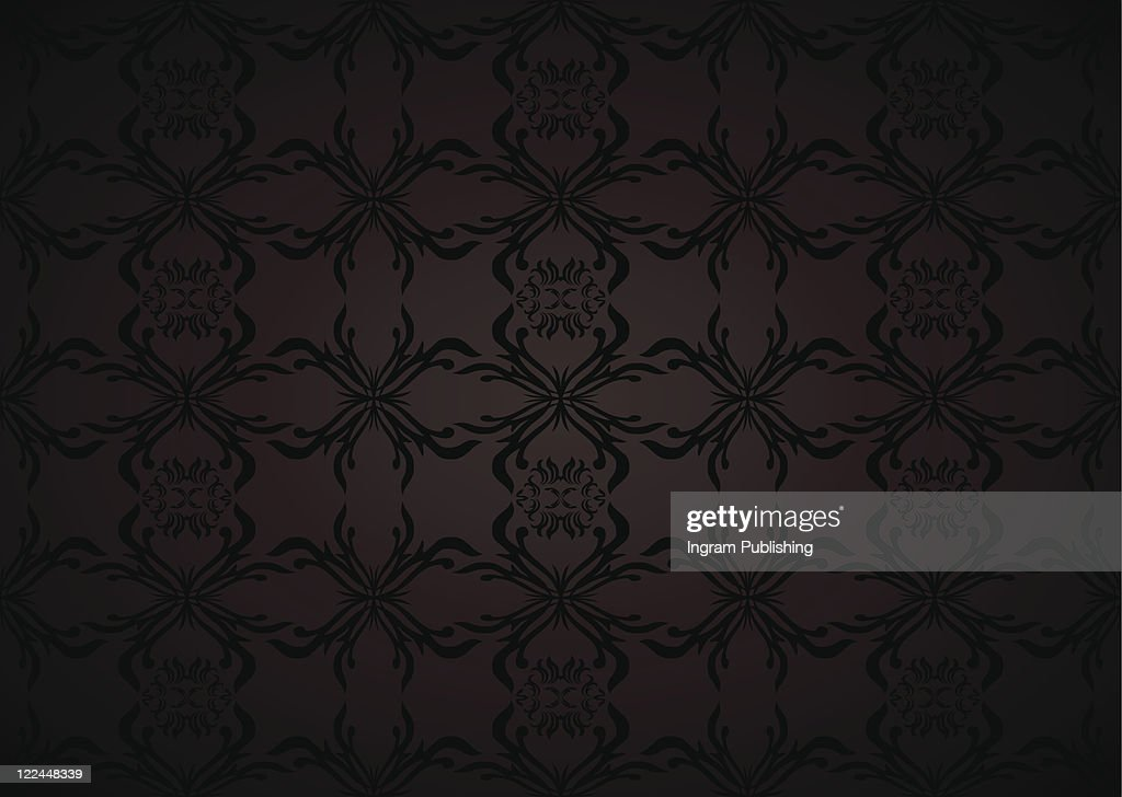 Gothic Seamless Background Wallpaper In Balck And Grey With Floral Theme Vector Art