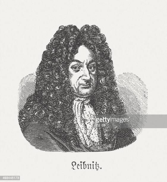 gottfried wilhelm leibniz (1646-1716), german philosopher, wood engraving, published 1881 - gottfried wilhelm leibniz stock illustrations