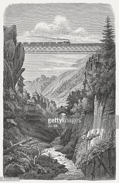 Gotthard Railway: Bridge over the Göschener Reuss, published in 1882