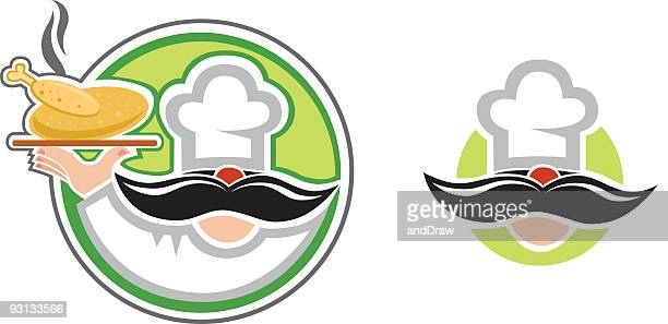 ilustraciones, imágenes clip art, dibujos animados e iconos de stock de el chef gourmet - pollo asado