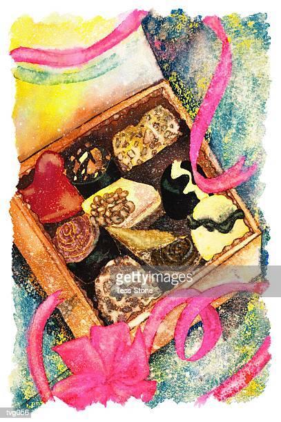 gourmet chocolate assortment - milk chocolate stock illustrations, clip art, cartoons, & icons