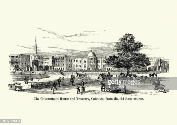 government house amd treasury, calcutta, india, 19th century - kolkata stock illustrations