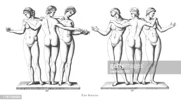 stockillustraties, clipart, cartoons en iconen met graces, apollo, offer aan mars; andere mythologische figuren gravure antieke illustratie, gepubliceerd 1851 - sensualiteit