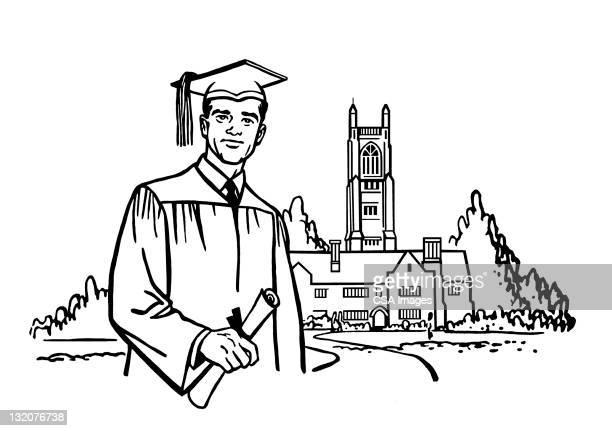 Graduate Standing in Front of Building