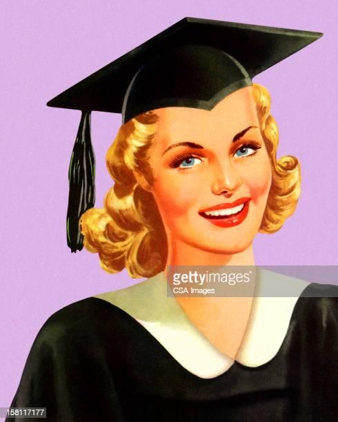 ilustrações de stock, clip art, desenhos animados e ícones de graduação usar de protecção e avental - loira