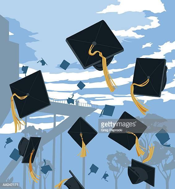 ilustraciones, imágenes clip art, dibujos animados e iconos de stock de graduation caps in mid-air - birrete