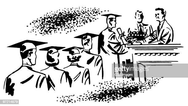 graduation ceremony - receiving stock illustrations