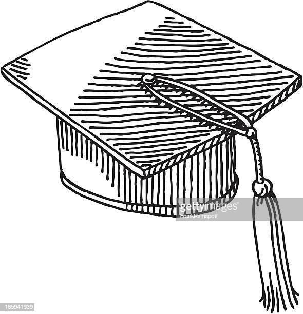 ilustraciones, imágenes clip art, dibujos animados e iconos de stock de sombrero de graduación dibujo - birrete