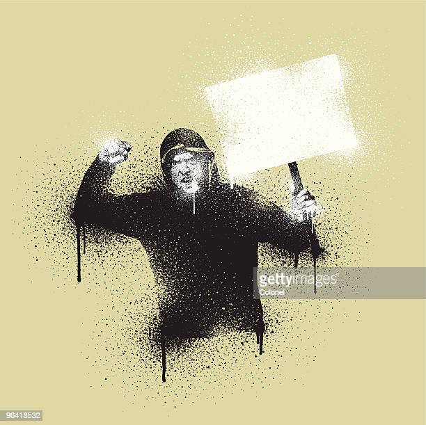 graffiti stencil civil disorder - hooded top stock illustrations