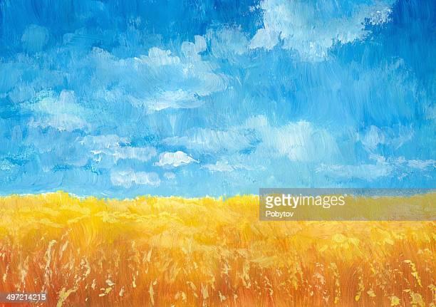 grain field - impressionism stock illustrations