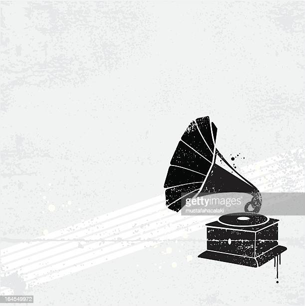 gramophone graffiti - gramophone stock illustrations, clip art, cartoons, & icons