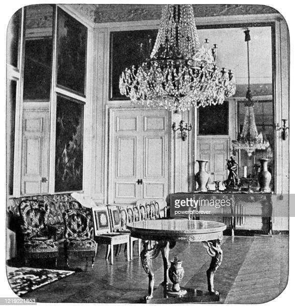 grand apartment of the queen at the chateau de versailles in versailles, france - 19th century - versailles stock illustrations
