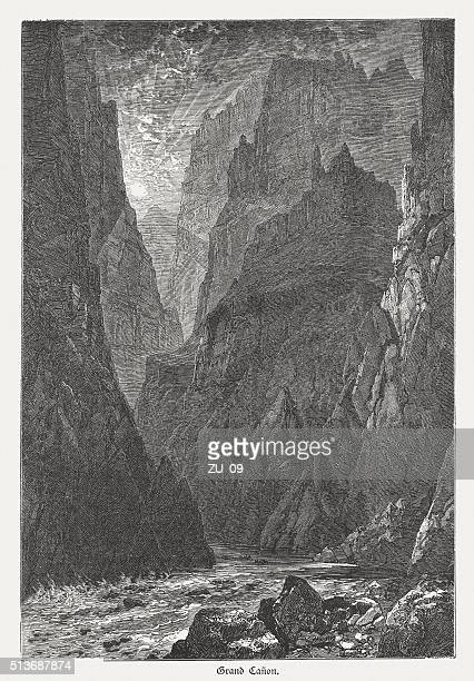 grand canyon, arizona, usa, wood engraving, published in 1880 - crag stock illustrations, clip art, cartoons, & icons