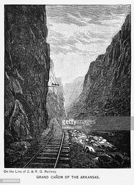grand canyon of the arkansas river victorian engraving - rapid stock illustrations