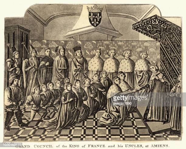 grand council of the king of france at amiens 14th century - circa 14th century stock illustrations, clip art, cartoons, & icons