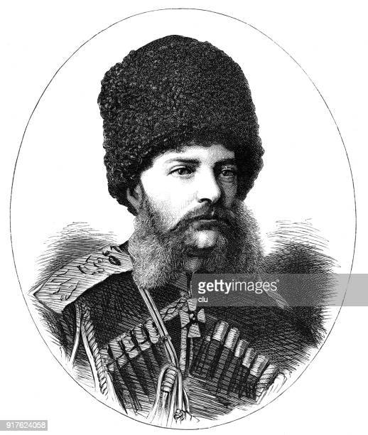 grand duke michael, commander-in-chief of the russian army in asia minor - 1877 stock illustrations, clip art, cartoons, & icons