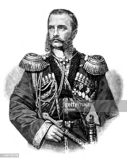 grand duke michael nikolaevich of russia, commander-in-chief of the russian army in asia - 1877 stock illustrations, clip art, cartoons, & icons