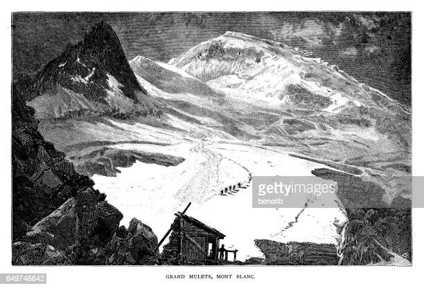 grand mulets, mont blanc - mont blanc stock illustrations, clip art, cartoons, & icons