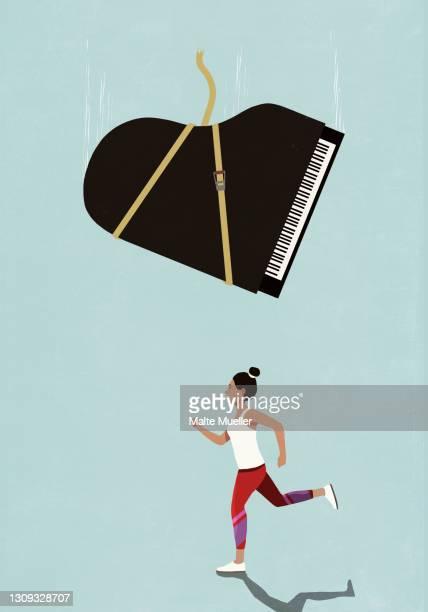 grand piano falling above oblivious female runner - danger stock illustrations