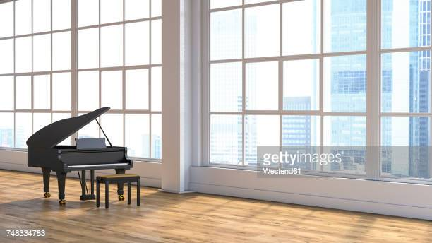 grand piano in concert hall - piano stock illustrations, clip art, cartoons, & icons