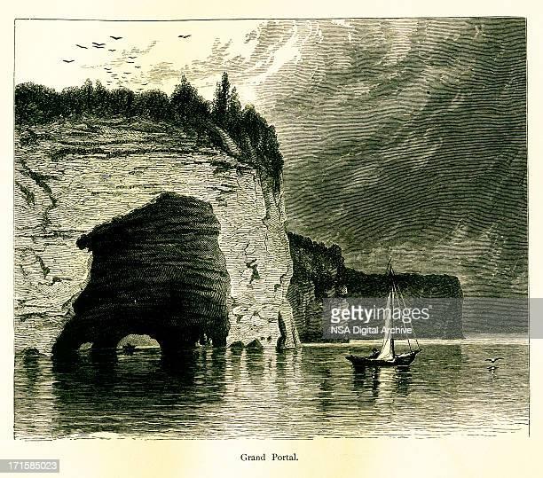 grand portal of lake superior, usa | historic american illustrations - pictured rocks national lakeshore stock illustrations